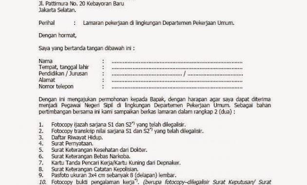 Contoh Surat Lamaran Pekerjaan Yang Baik Dan Benar Ilmu Bahasa