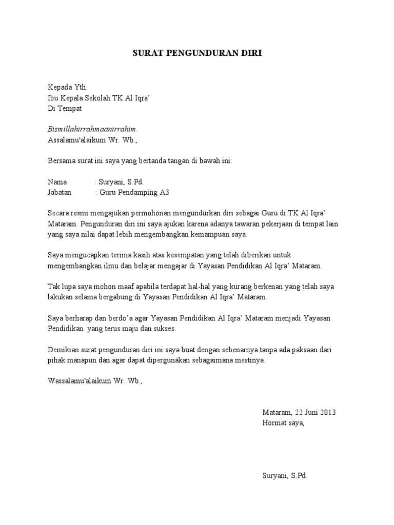 40 Contoh Surat Pengunduran Diri Resign Yang Baik Benar